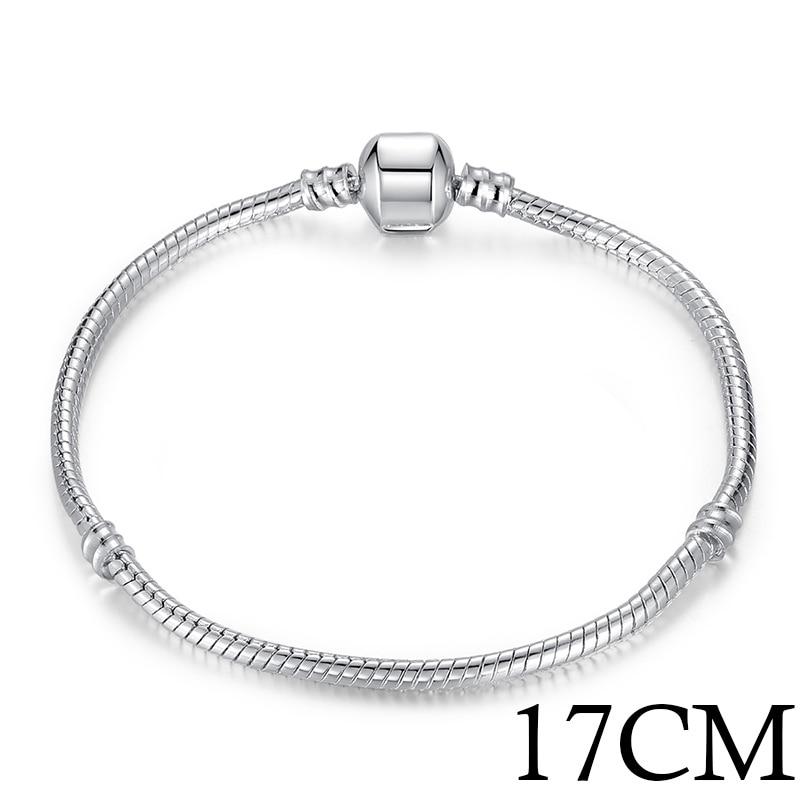 5 стиль 925 серебряных любовь цепи змейки и браслет 16 см- 21 см браслеты омар PA1104 - Окраска металла: 17cm Length