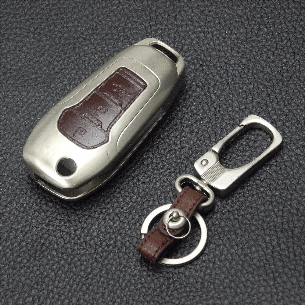 jingyuqin Novo daljinsko 3 gumbe cinkova zlitina + usnjena prevleka - Dodatki za notranjost avtomobila - Fotografija 4