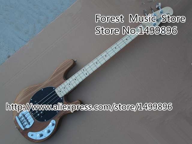 Cheap High-quality Chinese Natural Wood Music Man StingRey Bass Guitar 4 Strings Electric Bass Guitar Left Handed Custom Available