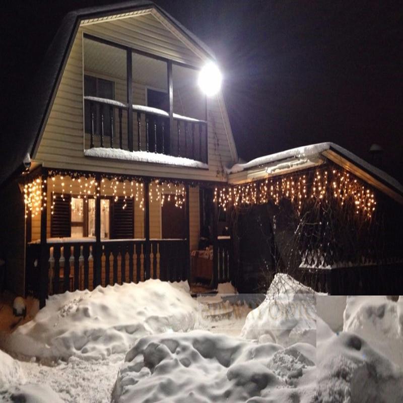 Рождество гирлянды светодиодные Шторы Сосулька свет шнура 220 В 5 м 96leds Крытый падение LED Garden Party этап открытый декоративный свет