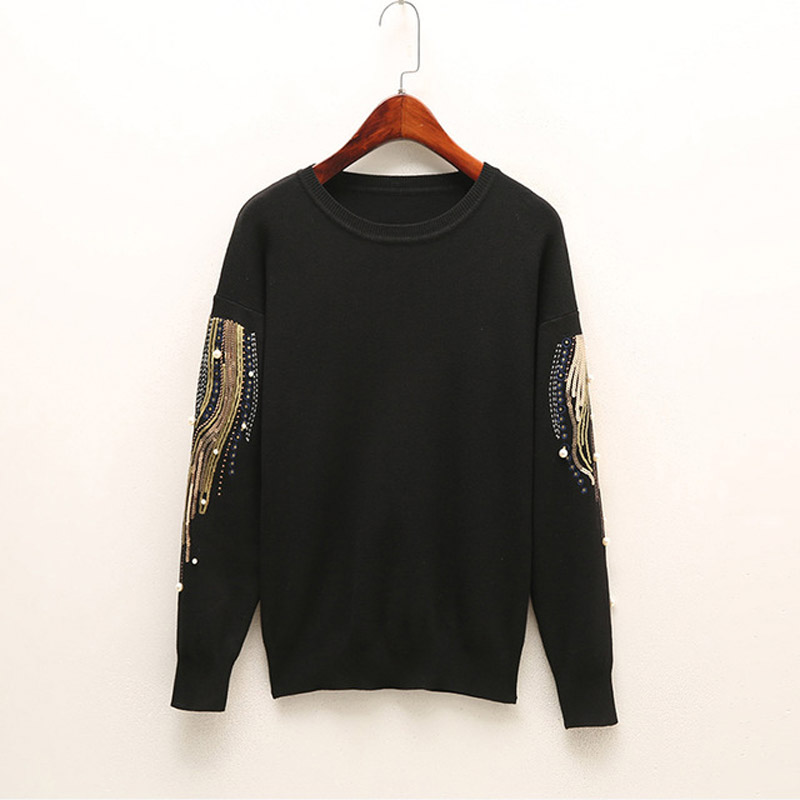 Knitted Embroidery Beads Pearl Women's Sweater Sequined O-neck Jersey Long Sleeve Pullovers Women 2019 Spring Sweaters Woman 3XL