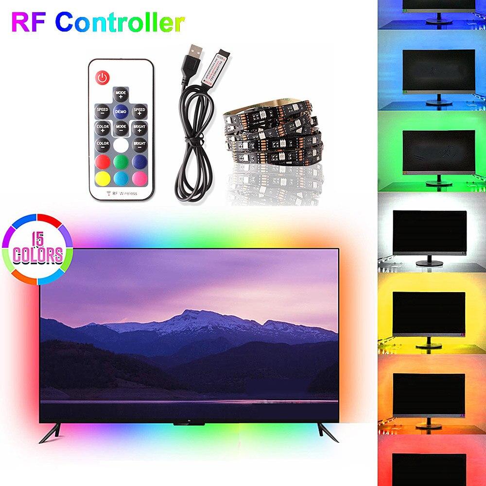 5M 5050 RF contrôleur veilleuse LED maison chambre décor éclairage lampara USB lampe 5V TV PC rétro-éclairage Flexible néon bande lampes