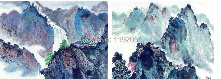 ΞПейзаж Традиционный китайский стиль картины 2 панели горы ...
