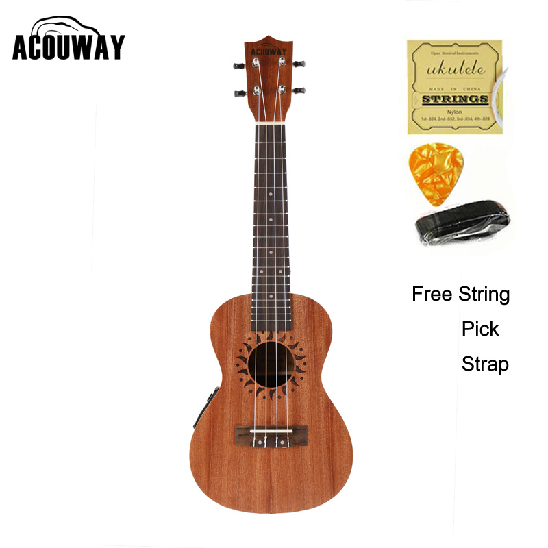 Acouway 21 Inch Soprano 23 inch Concert Electric Ukulele Uke 4 String Hawaii guitar Musical Instrument with Built-in EQ Pickup image