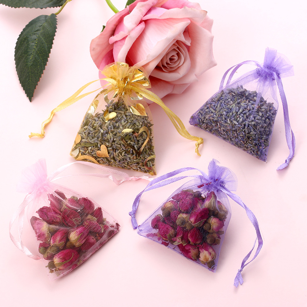 1Pcs Natural Lavender Bud Dried Flower Sachet Bag Aromatherapy Aromatic Household  Wardrobe Car Lavender Air Fresheners Dropship