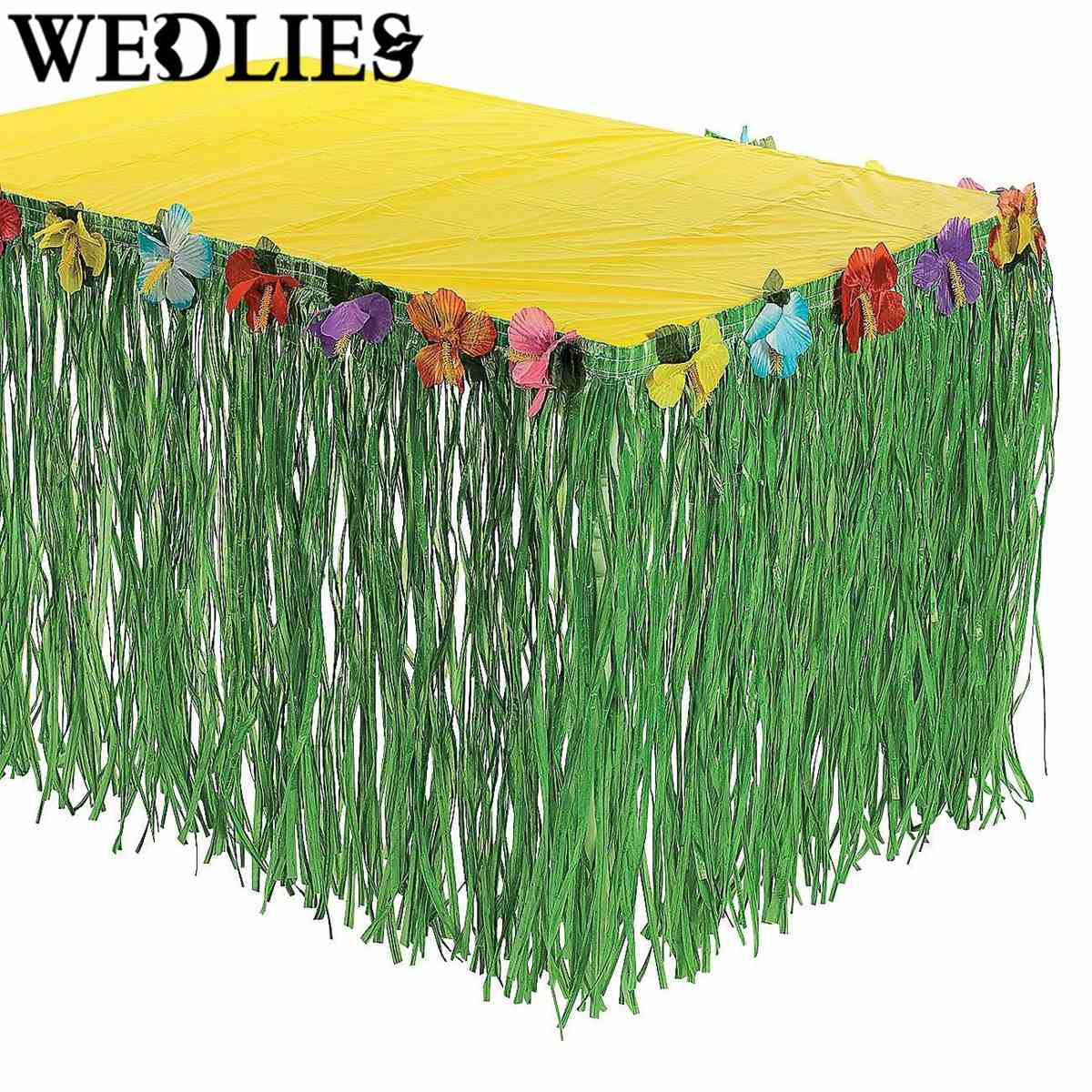 Hawaiian Luau Plastic Flower Grass Table Skirt Outdoor Patio Garden Party  Favor Supplies Beach Party Camping