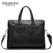 WILIAMGANU EMS / DHL shipping Genuine leather briefcases men Large capacity briefcase laptop bag bolso hombre cartera hombre