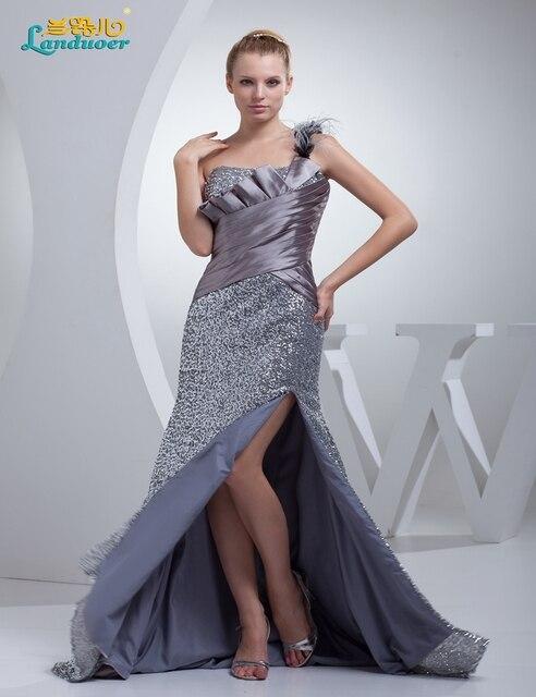 Mode Sommer silber pailletten grau kleider mutter braut schulter ...