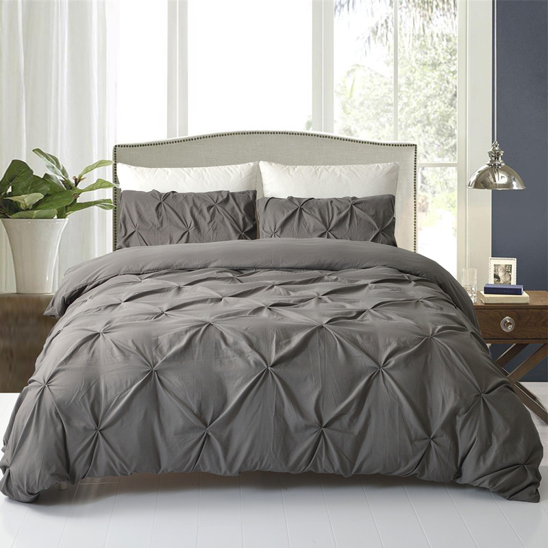 3Pcs Duvet Cover Set King Queen Size Pinch Pleat Soft Grey White Brushed Microfiber Decorative Bedding