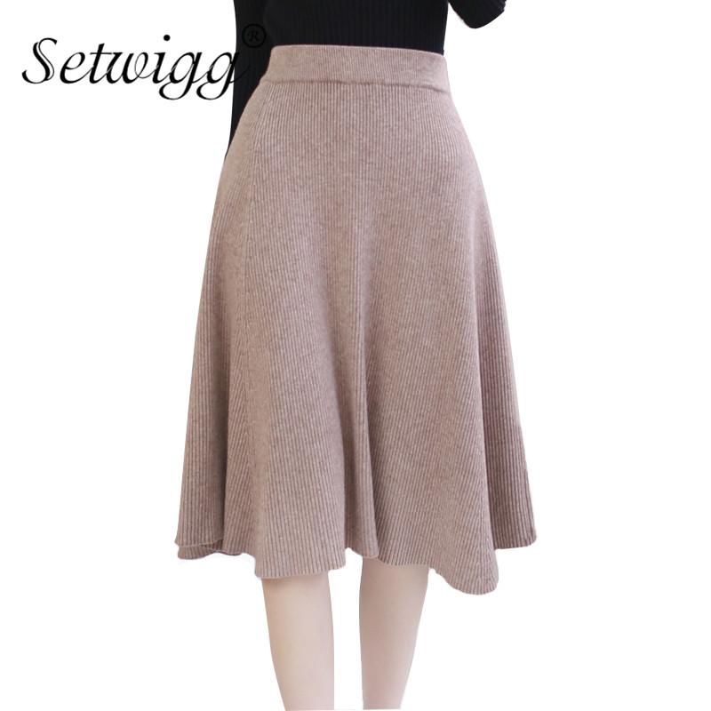 Us 22 26 15 Off Setwigg Women Winter Wool Knit Midi Skirt Elastic Waist Solid Warm Flare Rib Knitted Draped Knee Length Autumn Skirts In Skirts From