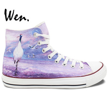 Wen Hand Painted Canvas Sneakers Red-Crowned Cranes High Top Women's Canvas Sneakers for Birthday Gifts