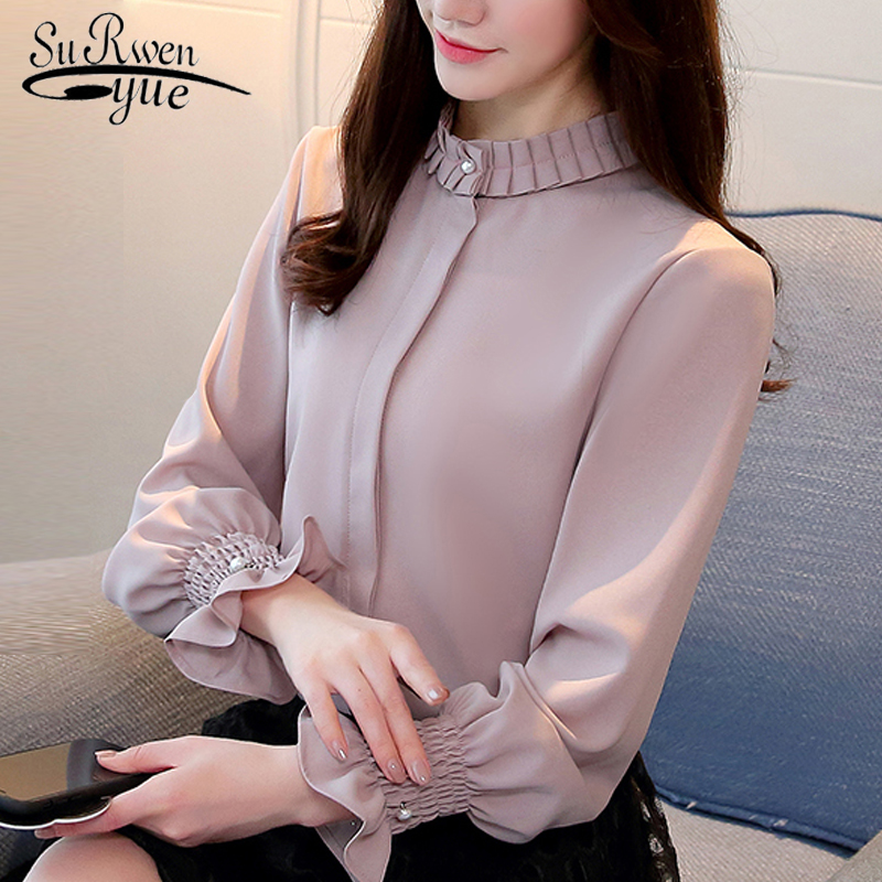 new Long Sleeve Solid Stnad Collar OL   Blouse   Fashion Womeen tops and   Blouses   2018 Chiffon   Blouse     Shirt   Women Tops Blusa 1016 40