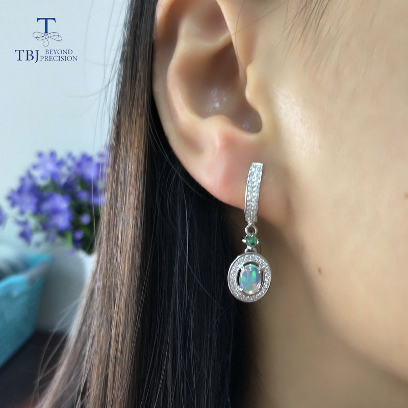 TBJ,2019 new classic clasp earring with natural opal and green emerald gemstone jewelry in 925 sterling silver for anniversary