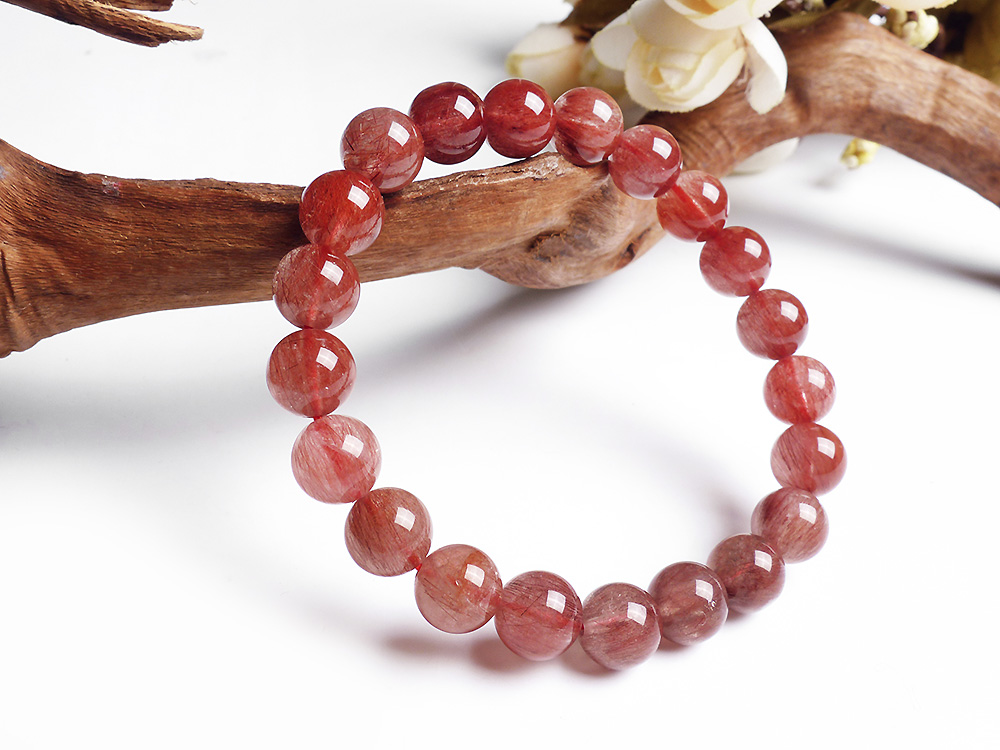 9mm Natural Red Hair Rutilated Quartz Crsytal Bracelet Women Men Energy Stone Friend Round Beads Fashion Bracelet Jewelry AAAAA in Bracelets Bangles from Jewelry Accessories