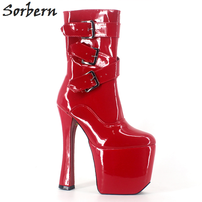 Sorbern 2018 New Woman 20cm High heel +9cm Platform Sexy Buckle Zipper Square heel Sapatos Round Toe Mid-Calf Shoes For WomanSorbern 2018 New Woman 20cm High heel +9cm Platform Sexy Buckle Zipper Square heel Sapatos Round Toe Mid-Calf Shoes For Woman