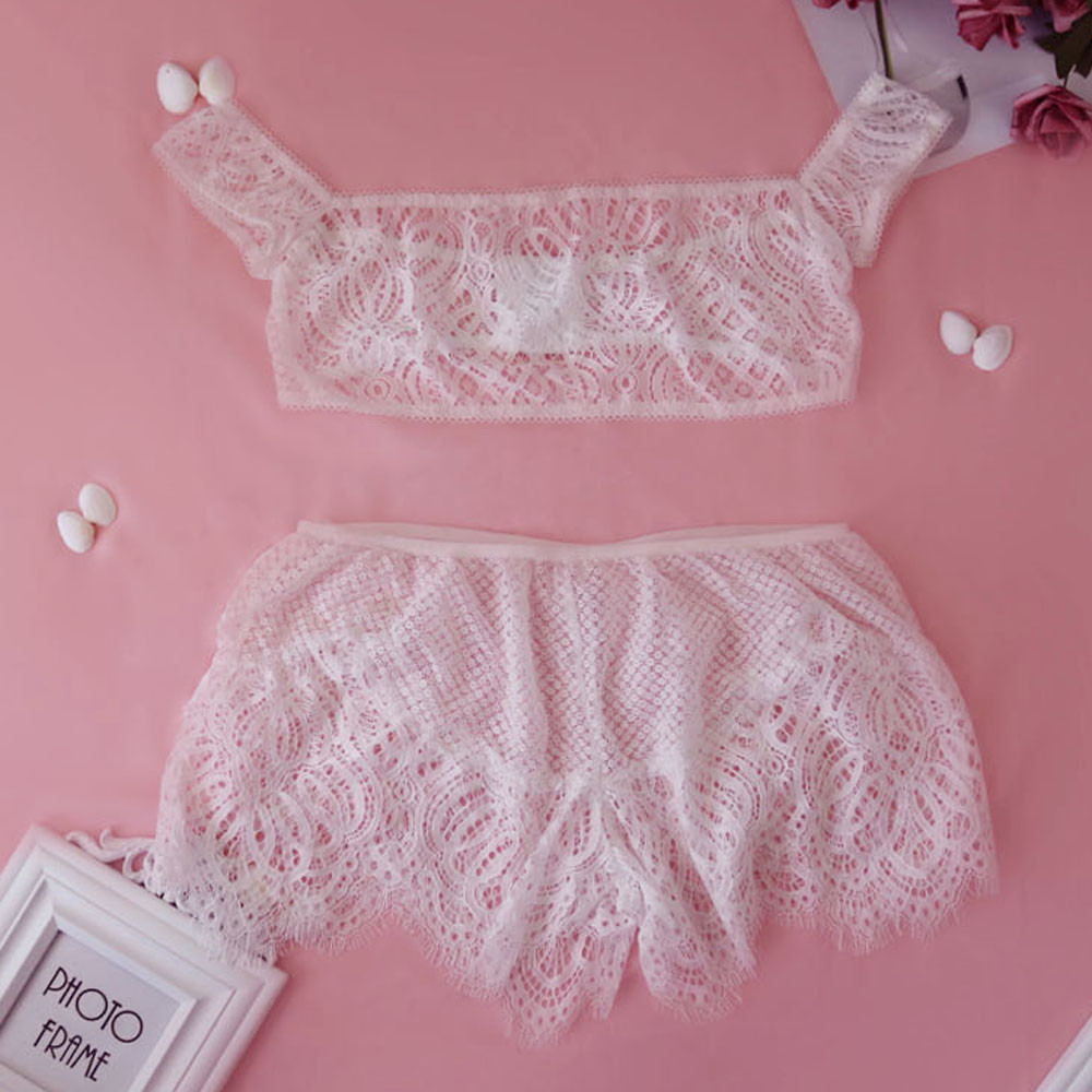 Women Girl Tempting Cage Sexy Lace Lingerie Bodice Lingerie Off Shoulder  Set sexy lace bra lenceria femenina-in Bras from Underwear   Sleepwears on  ... 0a8d0b836