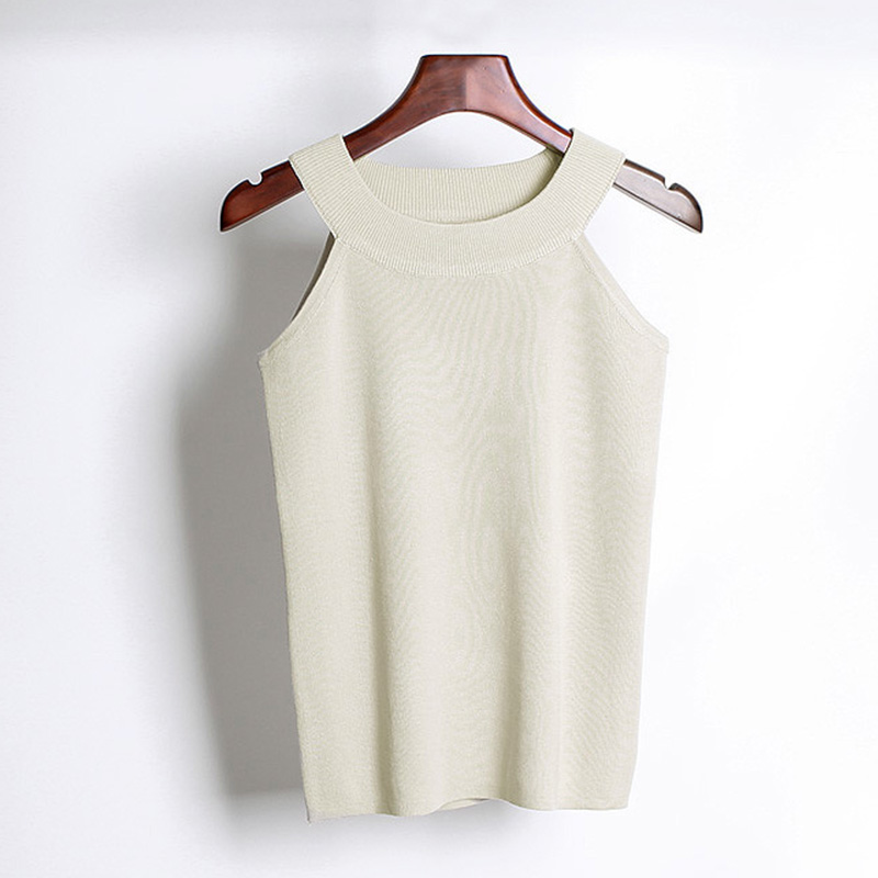 Summer off shoulder knitted camis sleeveless white black top shirts casual Women stretch Bodycon cropped elastic tube tank tops