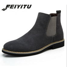 feiyitu The Chelsea Boot Men Suede Hombre Martin Boots Low Heel Nubuck Leather Ankle Vintage Sewing Thread Britain Botas