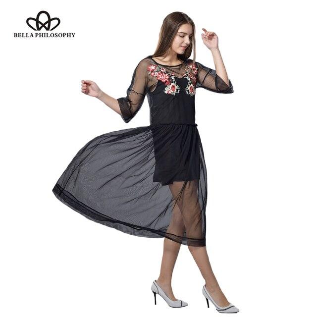 Bella Philosophy 2017 springfashion сексуальные перспектива прозрачный вышивка половина рукав сетка пряжи женщин dress
