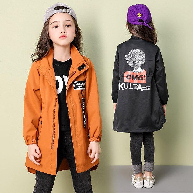 Детская ветровка; модные куртки для девочек подростков; Осенняя повседневная детская одежда с героями мультфильмов; Тренч для девочек 10, 12, 14 лет