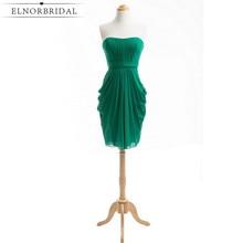 Emerald Zelena djeveruša Haljina Knee Duljina 2017 Jeftini Djevojka od časti Haljine Nailless Vestido Madrinha Longo Vjenčanje Party