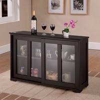 Giantex Home Storage Cabinet Sideboard Buffet Cupboard Glass Sliding Door Shelf Pantry Wood Kitchen Cabinet New