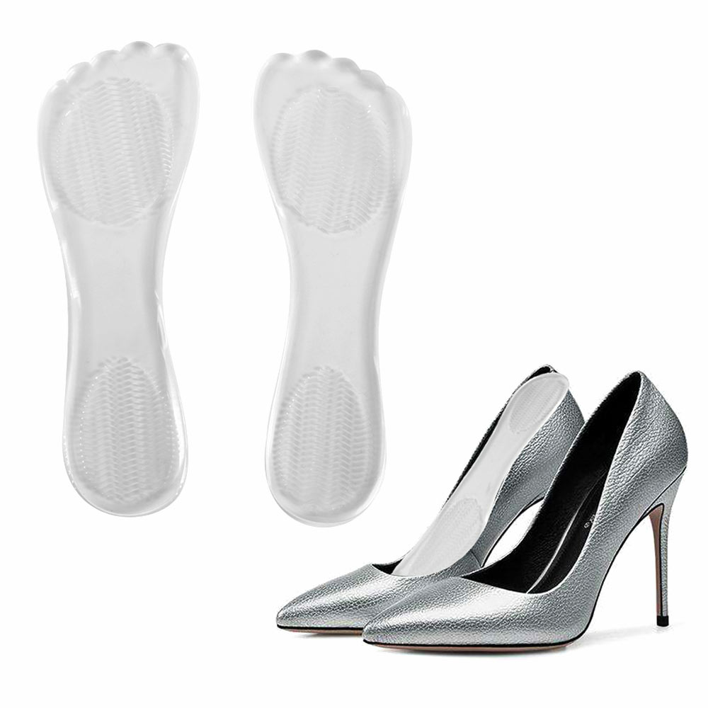Transparent High Heel Silicone Gel Cushion Insole Anti Slip Pain Relief Foot Pad Insert High Heel Insole Flat Feet Fallen