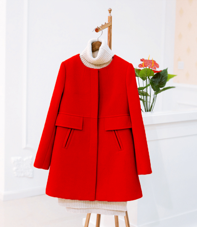 New 19 Spring Autumn Plus Size Wool Coat Women Loose A-aline Long Sleeved O-neck Medium Long Black Yellow Korean Coat Casacos 2