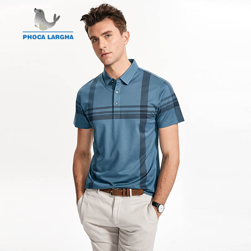 Summer Short Sleeve 2019 Middle Age Men's Business High Quality Luxury silk   Polo   Shirt Striped Breathable Loose Lapel