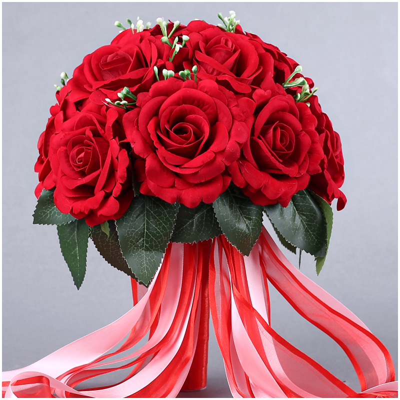 Wedding Bride Bouquet Flower Chinese Red Creative Wedding Bridesmaid Hand Flower With Ribbon Props 15 Pcs Rose