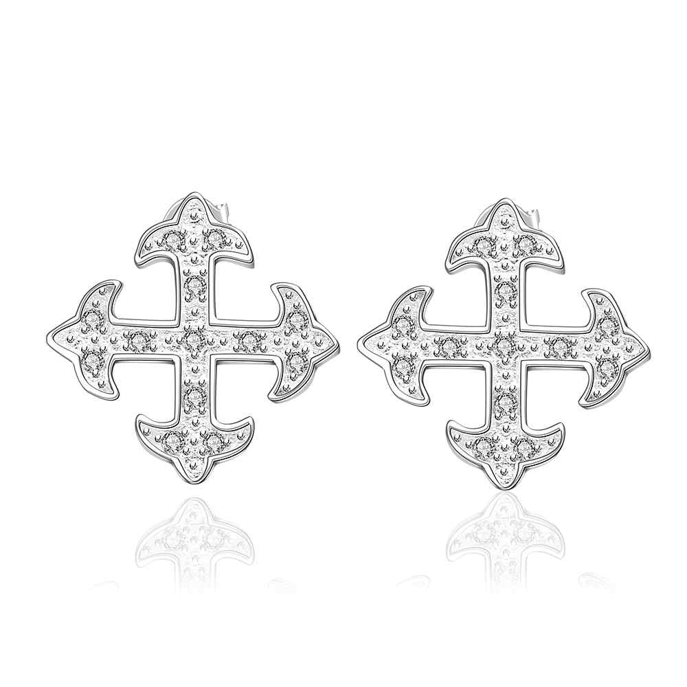 Simple Fashion Style Silver plated cross arow Earrings Jewellery mens 2016,Wholesale&Free shipping, SMTE567