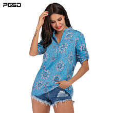 PGSD 2019 New Spring Autumn Office lady casual Pullover V-neck Long Sleeve Loose Flower Printed Ladys Shirt Women clothes XXL