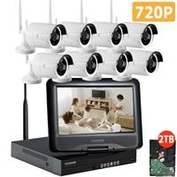 8CH CCTV System Wireless 720P NVR 8PCS 1 0MP IR Outdoor P2P Wifi IP Security Camera