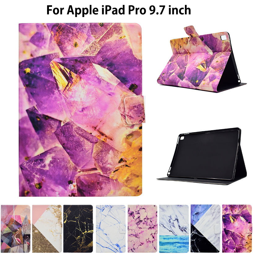 Fashion Marble Pattern Case For Apple iPad Pro 9.7 inch Case Smart Cover Funda Tablet PU Leather Flip Stand Shell Sleep&Wake case for funda ipad pro 12 9 luxury business leather case tablet 12 9 inch wake up hand belt holder stand flip bags alabasta
