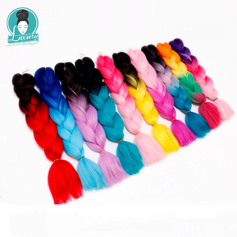 Luxury For Braiding Kanekalon Jumbo Braids Bulk Synthetic Hair 24'' 100g African Braiding Hair Style Crochet Hair Extensions