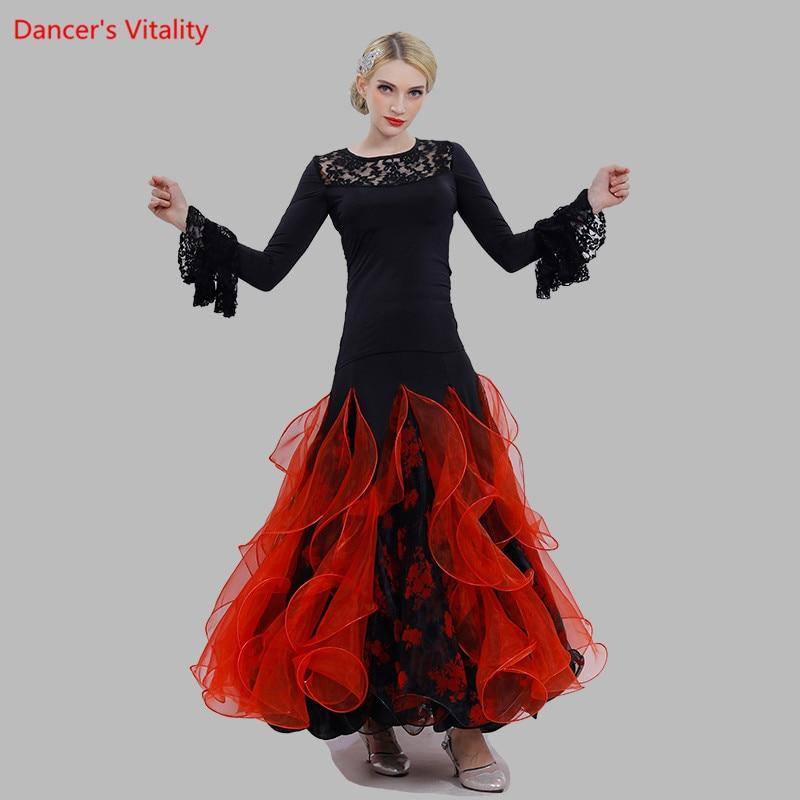 Ballroom Dance Suit Pagoda Sleeve Tops Big Swing Skirt 2pcs Set For Women National Standard Ballroom