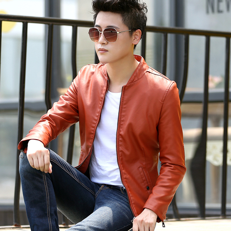 HOHO Spring 2018 mens new fur collar youth pu motorcycle leather jackets