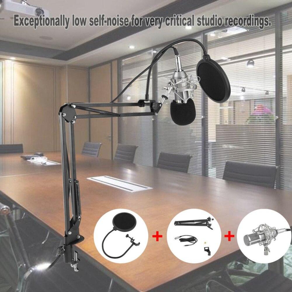 Professionnel Condenseur À Son Enregistrement Microphone Avec Support Pour Karaoké Radio Braodcasting Chant Pro Audio Studio