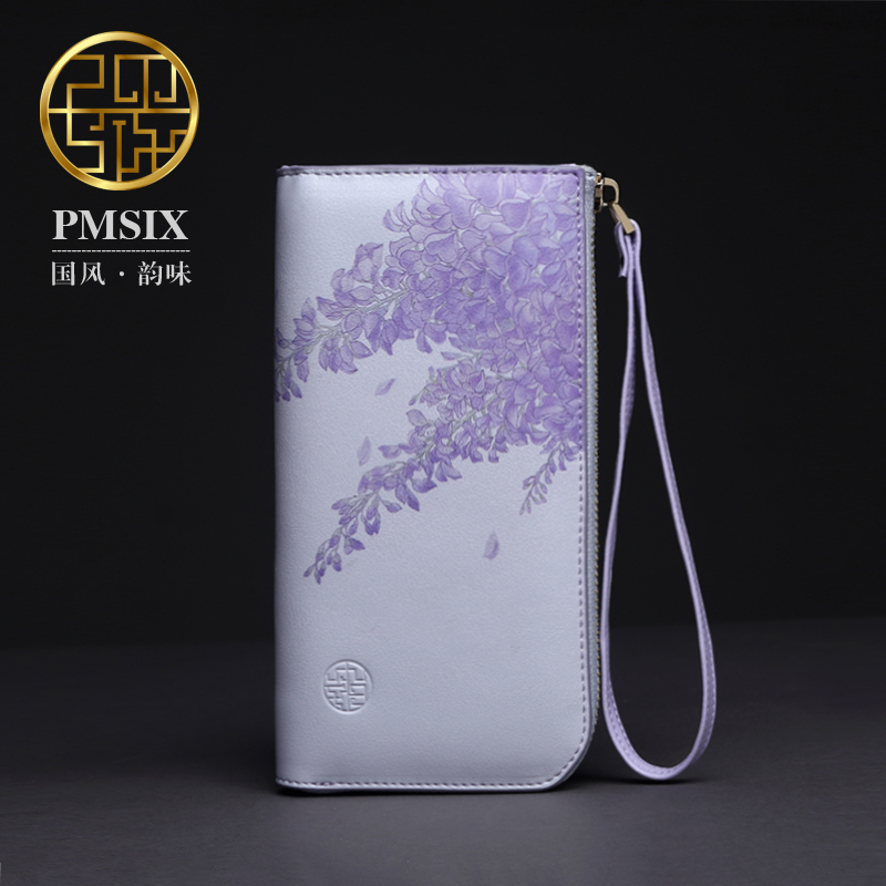 Pmsix 2017 Luxury Chinese Style Women Wallets Cowhide split Leather Party Purse Banquet Clutch Bags Flower