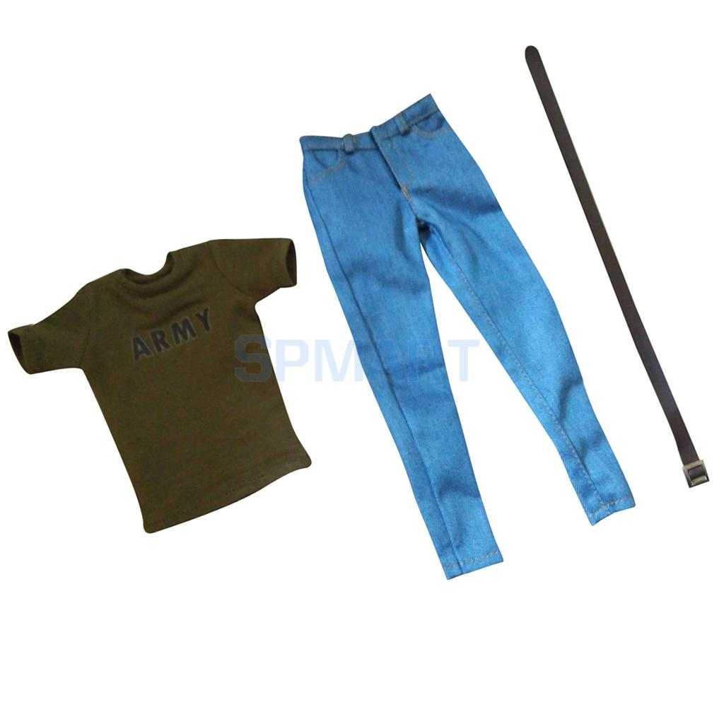 1/6 Scale Mens Short Sleeve Army Green T-Shirt & Jeans Belt Set Clothing for 12 Male Action Figure