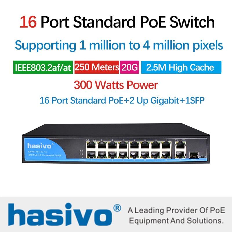 16 POE port switch for ip camera with 2 port 1000M uplink 1 port SFP PoE