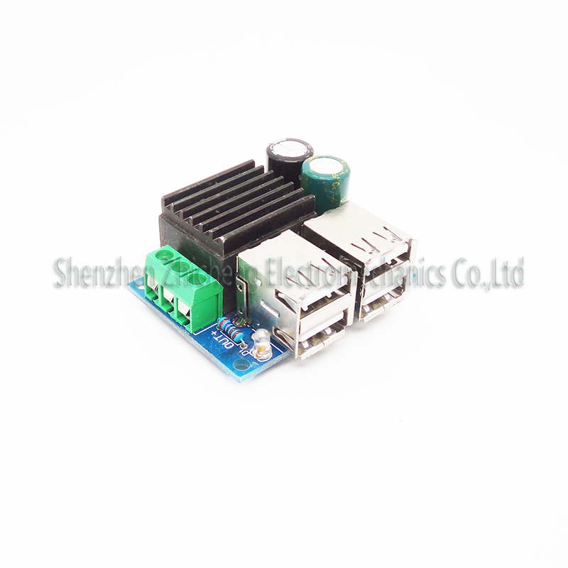 DC 9V 12V 18V 20V to 5V 30W 6A Step Down 4-USB Port Step-down Power Module