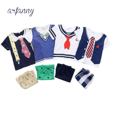 Summer Style Infant Clothes Baby Clothing Sets Navy short-sleeved suit children Boy set