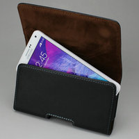 Horizontal Genuine Leather Case Pouch With Belt Clip Holster For Samsung Galaxy 3 4 Edge Black
