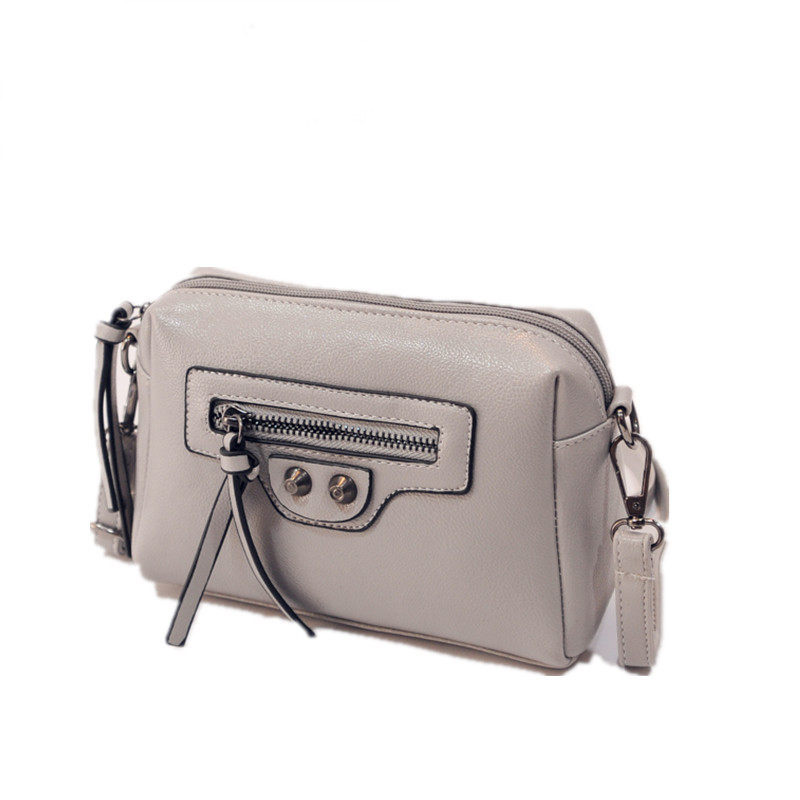Korean Style Fashion Simple Shoulder Bag Front Zipper Rivets Designer Small Bag Women Retro Casual MINI
