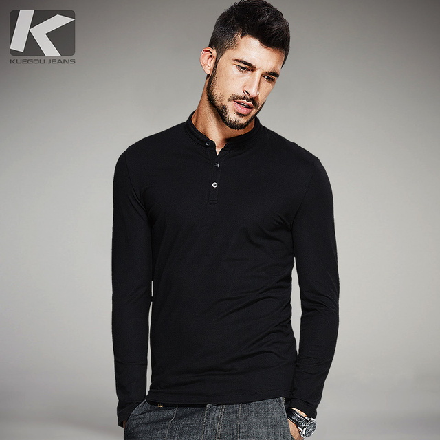 [Kuegou] Men's Leisure Long Sleeved T Shirts 6328 by Kuegou