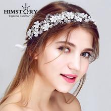 HIMSTORY Handmade Beaded Floral Bridal Headband Wedding Hair Accessories Women Jewelry Crystal Hairwear Headpiece