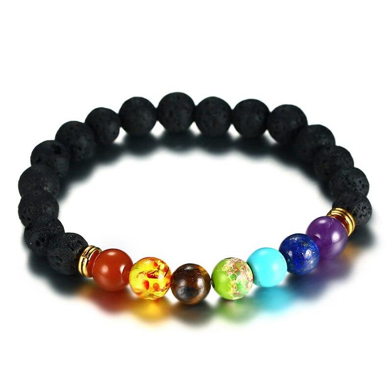 8.5MM Healing 7 Chakras Natural Lava Volcanic Stone Strand Bracelet for Men Women Yoga Jewelry Beaded Pulseira Braslet Bileklik