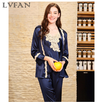 Ladies Spring DressSimulated Silk Pyjamas Lady Spring Dress Gown Trousers Three piece Suite Household Clothes STZ637