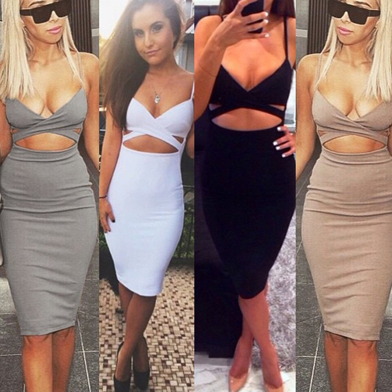 eebd551be6 2015 New Europe Sexy Bandage Dresses Fashion Clubwear Cotton Waist Hollow  Spaghetti Strap Women Dress Bodycon Dress Plus Size-in Dresses from Women s  ...